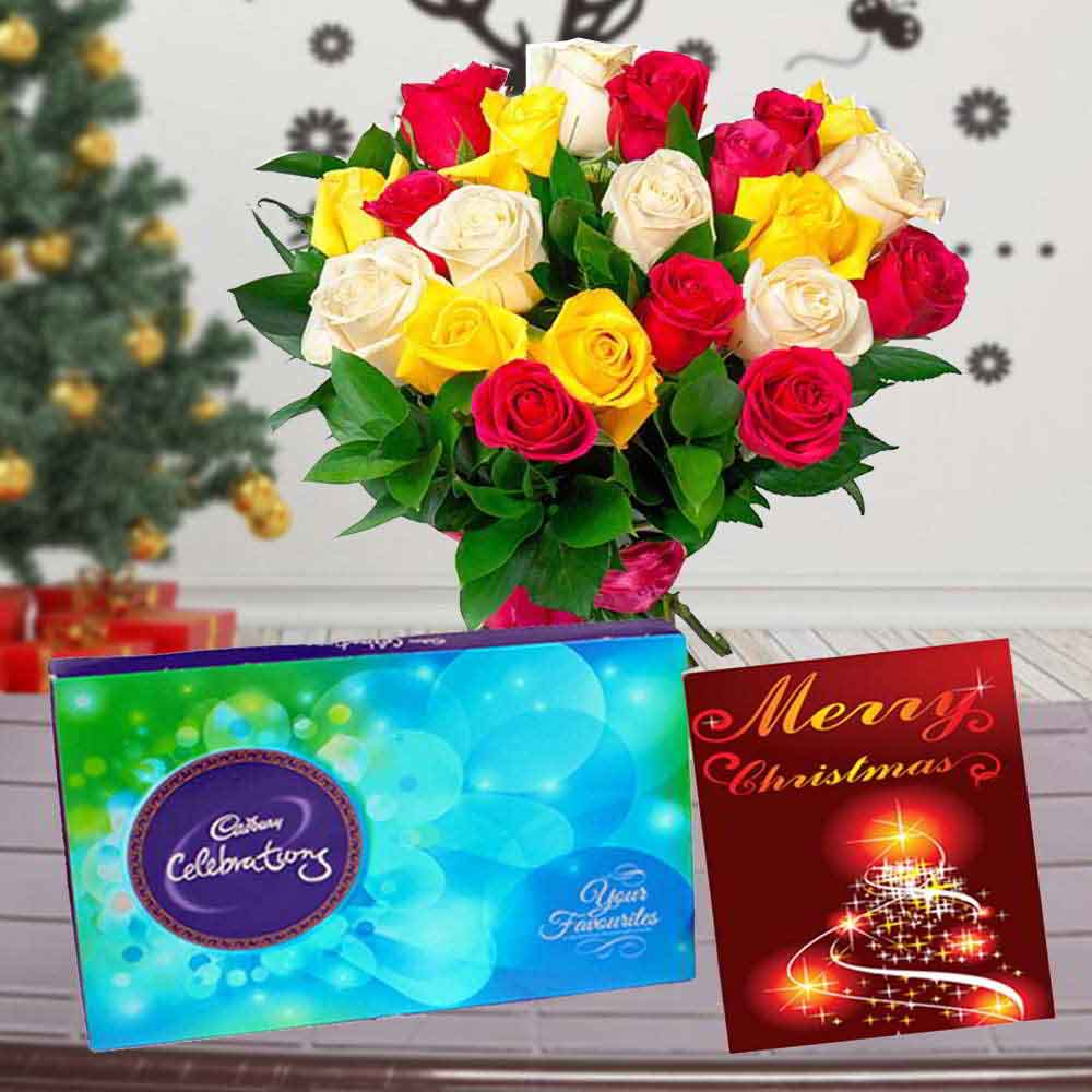 Rose Bouquet with Cadbury Celebration Chocolate and Christmas Card