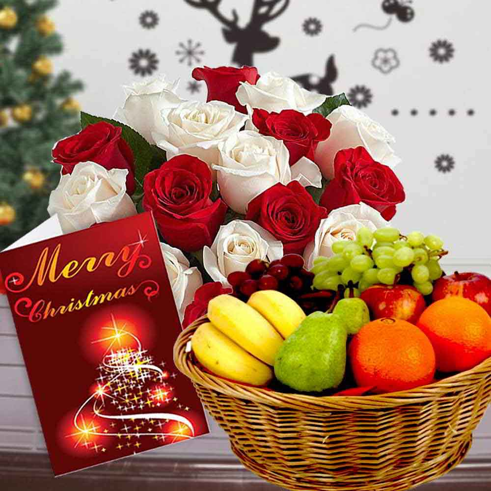 Mix Roses Bouquet with Fruits Basket and Christmas Card