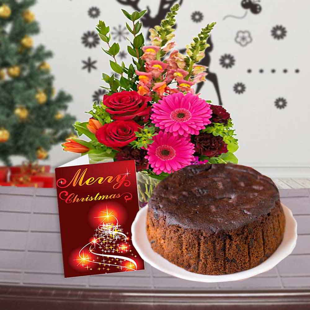 Chocolate & Flowers-Mix Flowers Bouquet with Plum Cake and Christmas Card