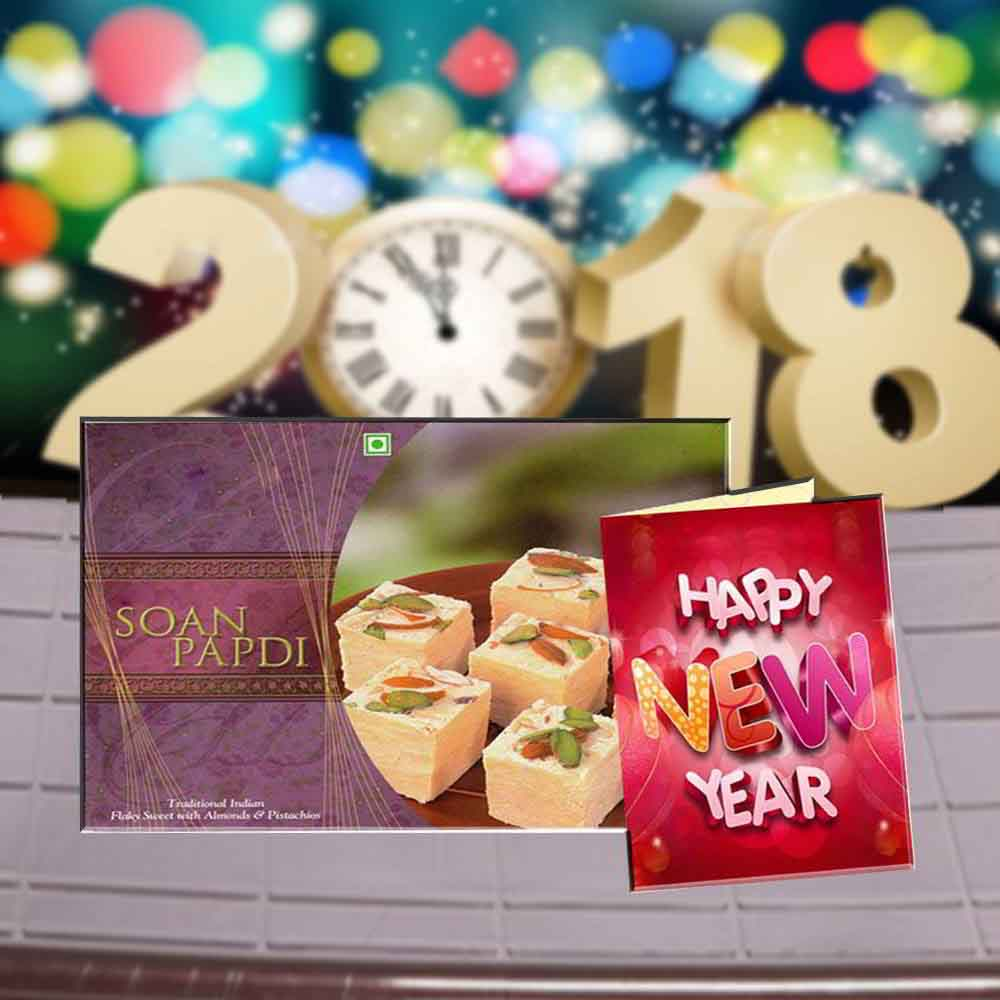 Soan Papdi Sweets and New Year Greeting Card