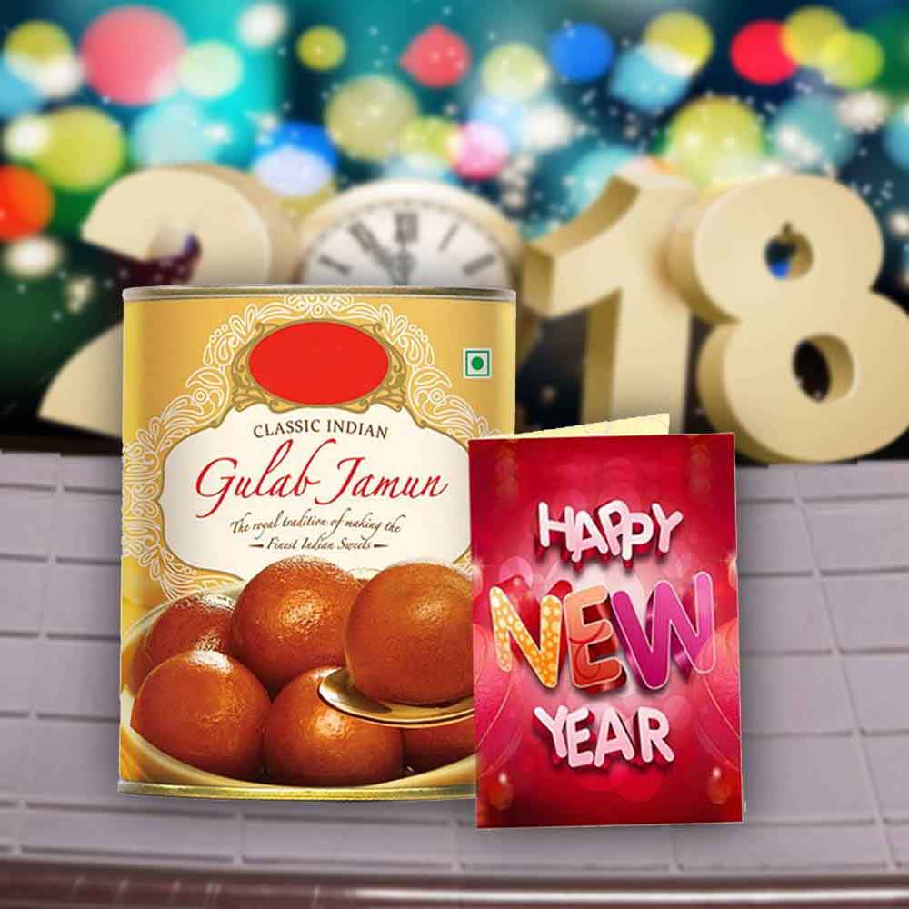 Floral Hampers-Gulab Jamun Sweets and New Year Greeting Card
