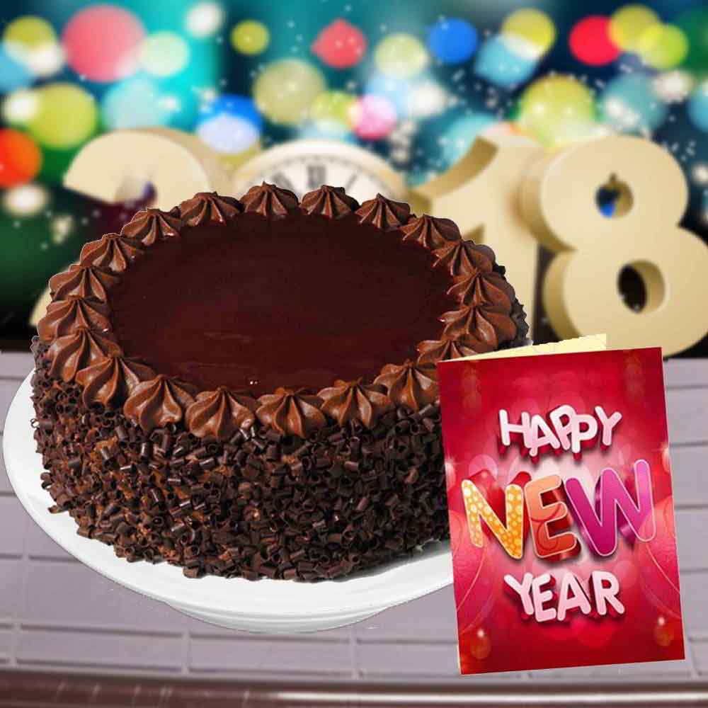 New Year Greeting Card and Chocolate Truffle Cake