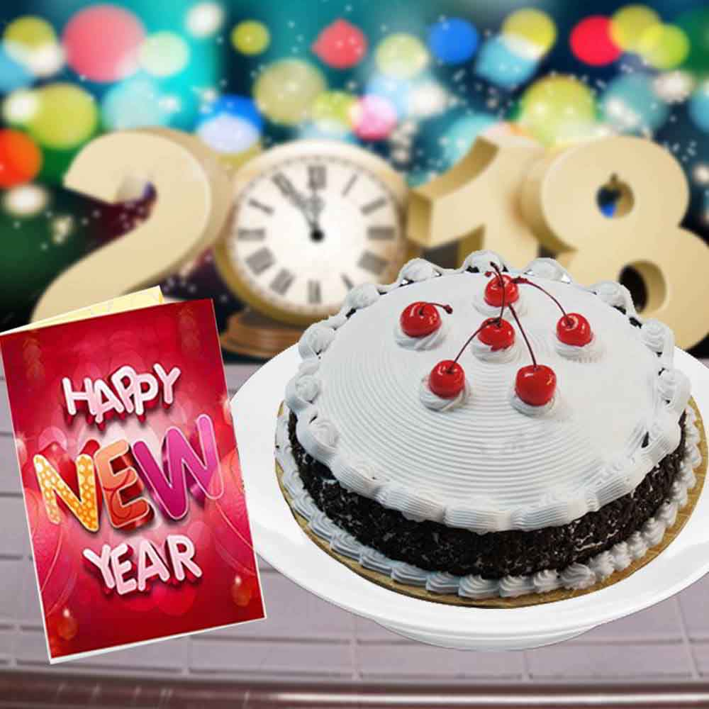 Eggless Black Forest Cake and New Year Greeting Card