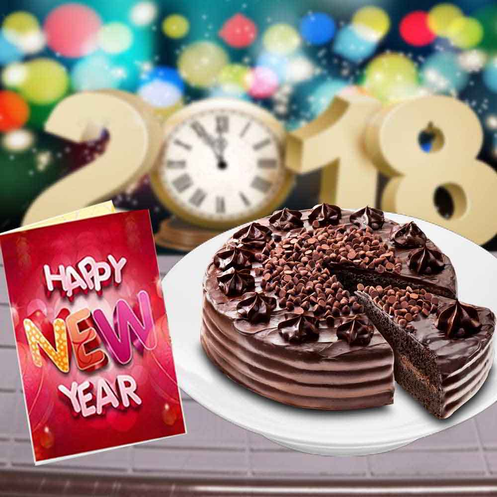 Cakes-Eggless Chocolate Truffle Cake and New Year Greeting Card