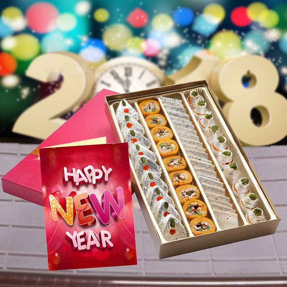 Floral Hampers-Assorted Kaju Sweet Box and New Year Greeting Card