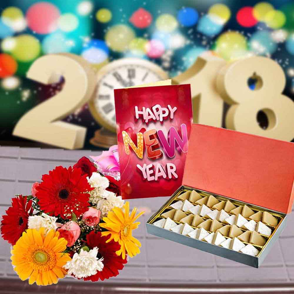 Floral Hampers-Kaju Katli Sweets Box with Mix Flowers Bouquet and New Year Card