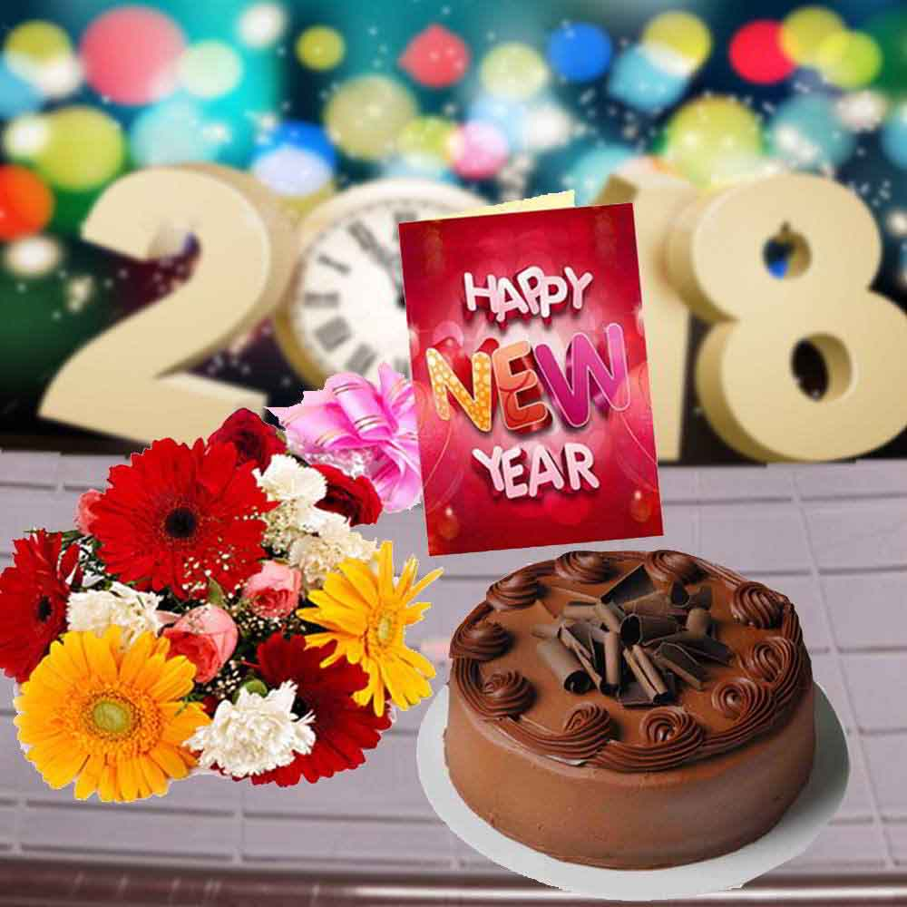 Cake & Flowers-Mix Flowers Bouquet with Chocolate Truffle Cake and New Year Card