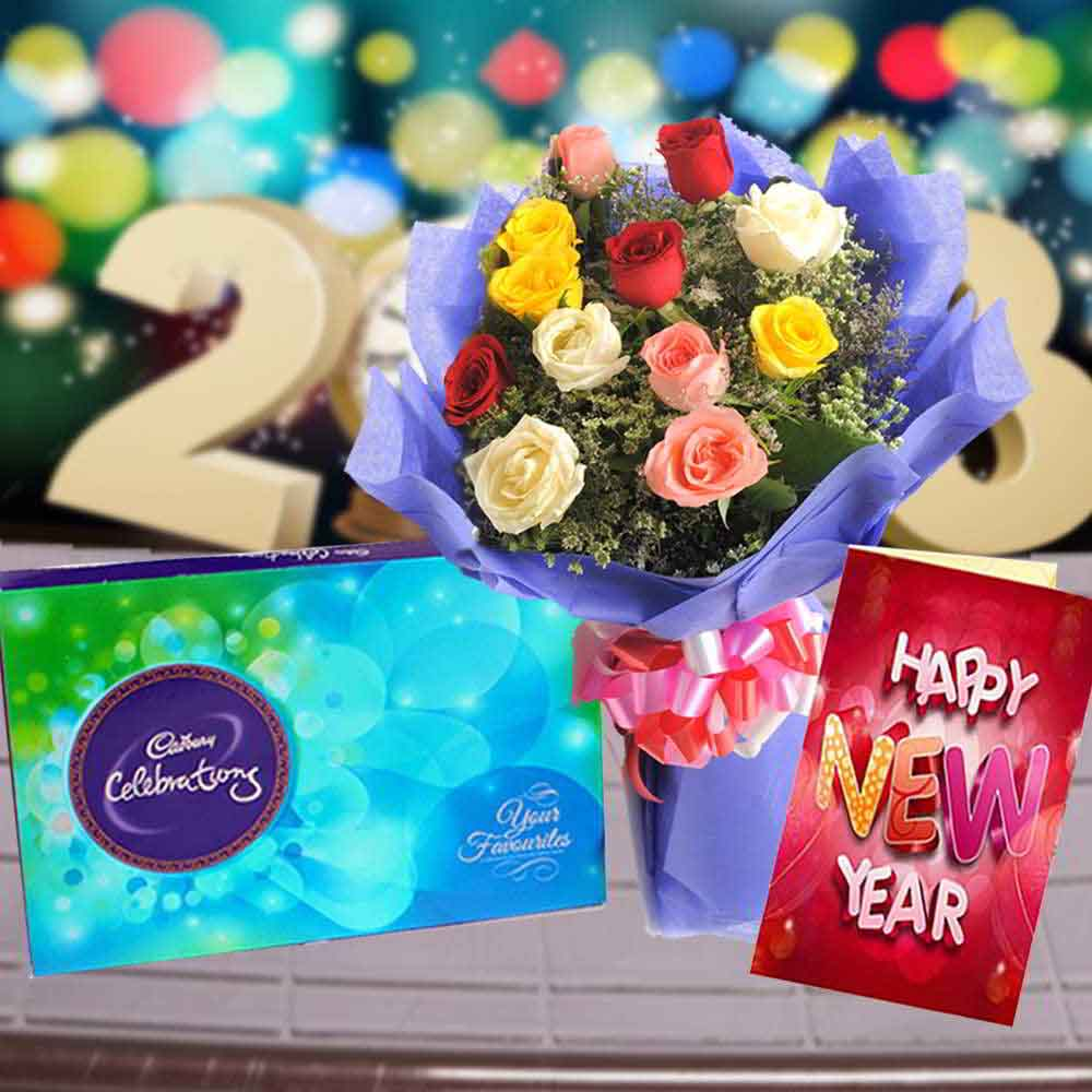 Cadbury Celebration Chocolates with Mix Roses Bouquet and New Year Card