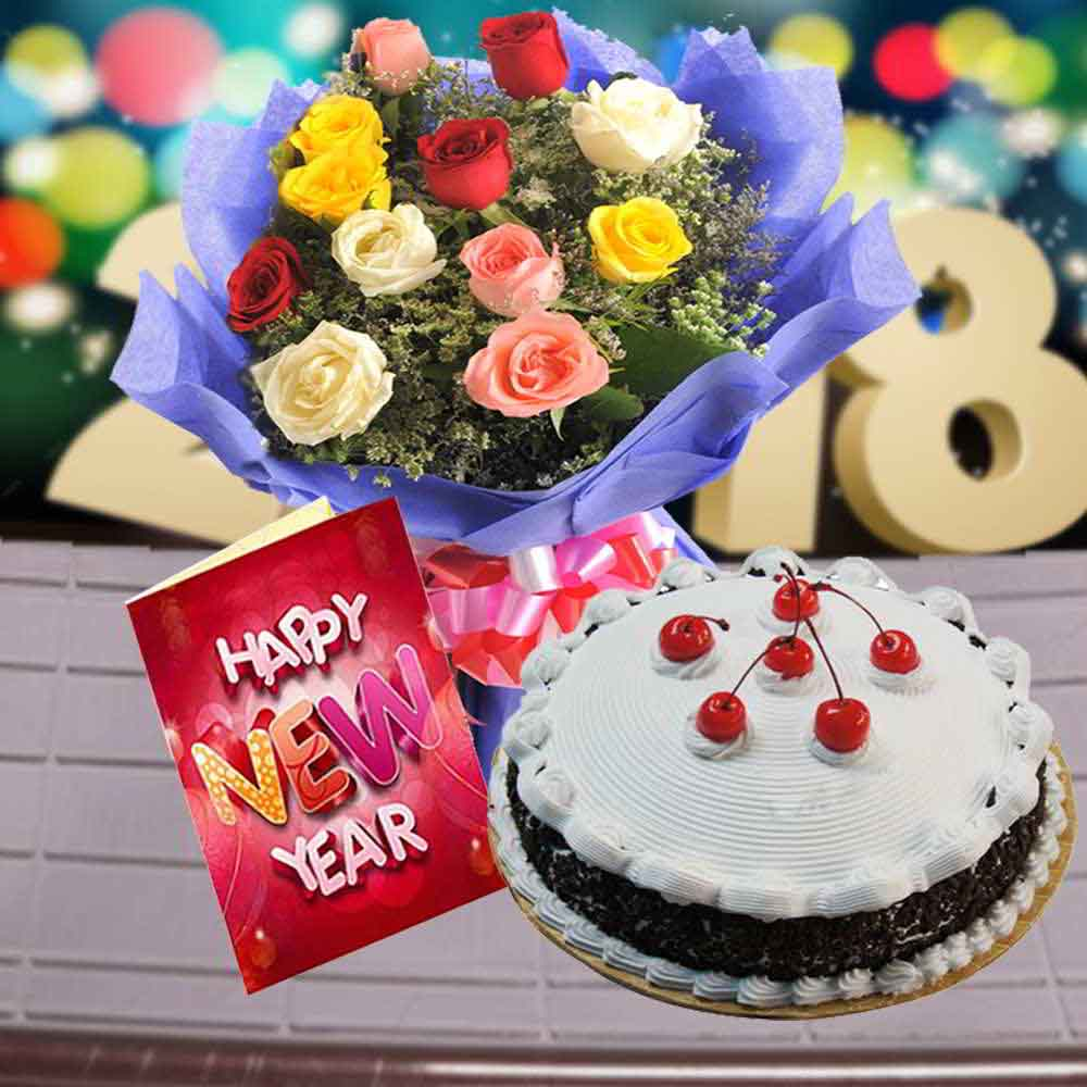 Cake & Flowers-Black Forest Cake with Mix Roses Bouquet and New Year Greeting Card