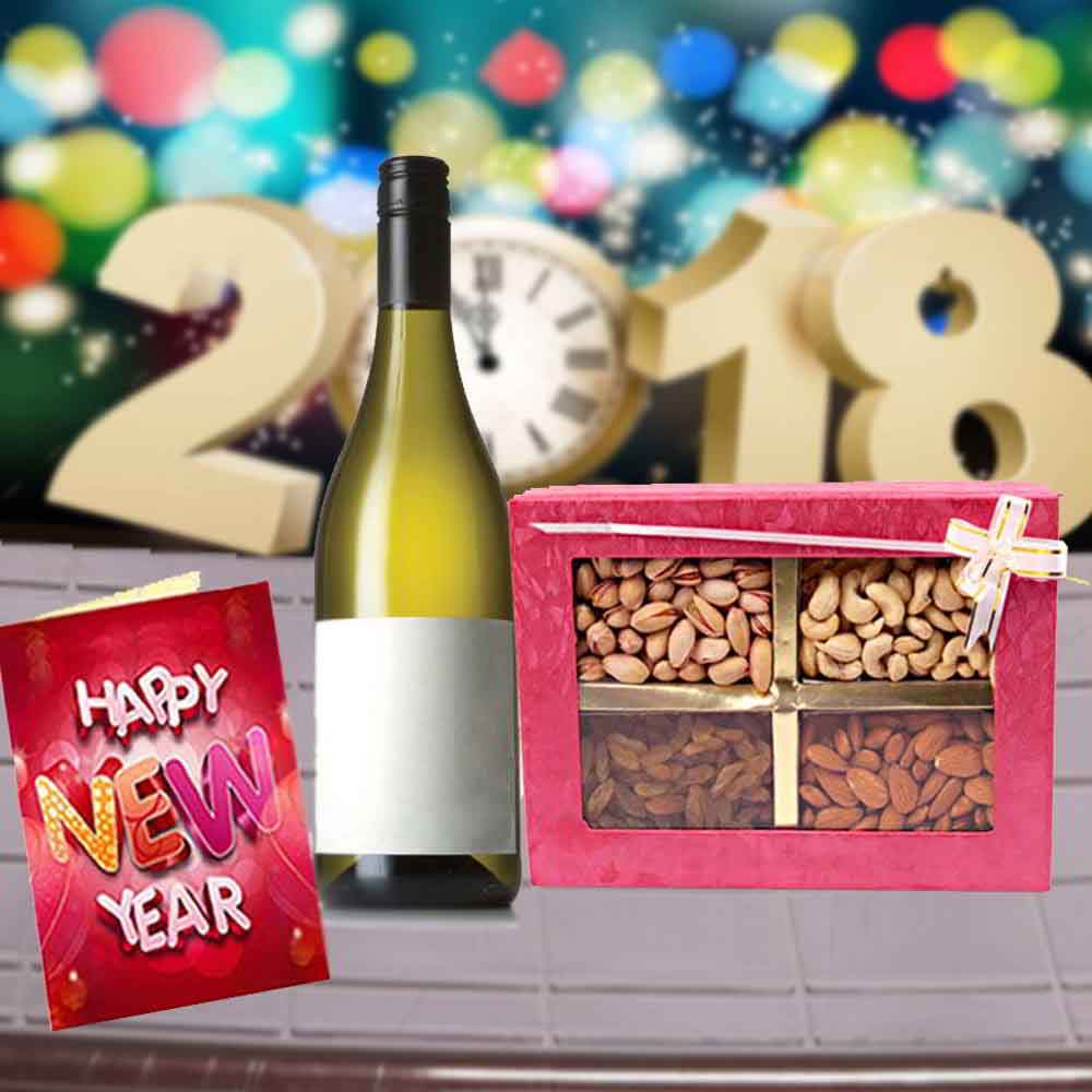 Floral Hampers-Wine with New Year Greeting Card and Assorted Dry Fruits