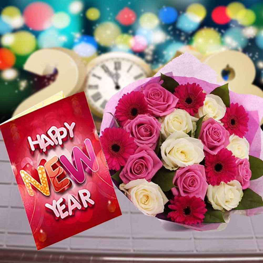 Fresh Flowers-18 Mix Flowers Bunch with New Year Greeting Card