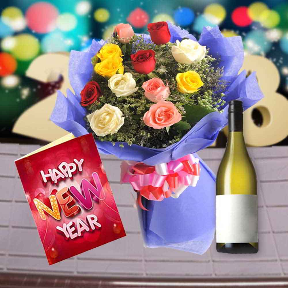 Floral Hampers-12 Mix Roses Bouquet with Wine and New Year Card