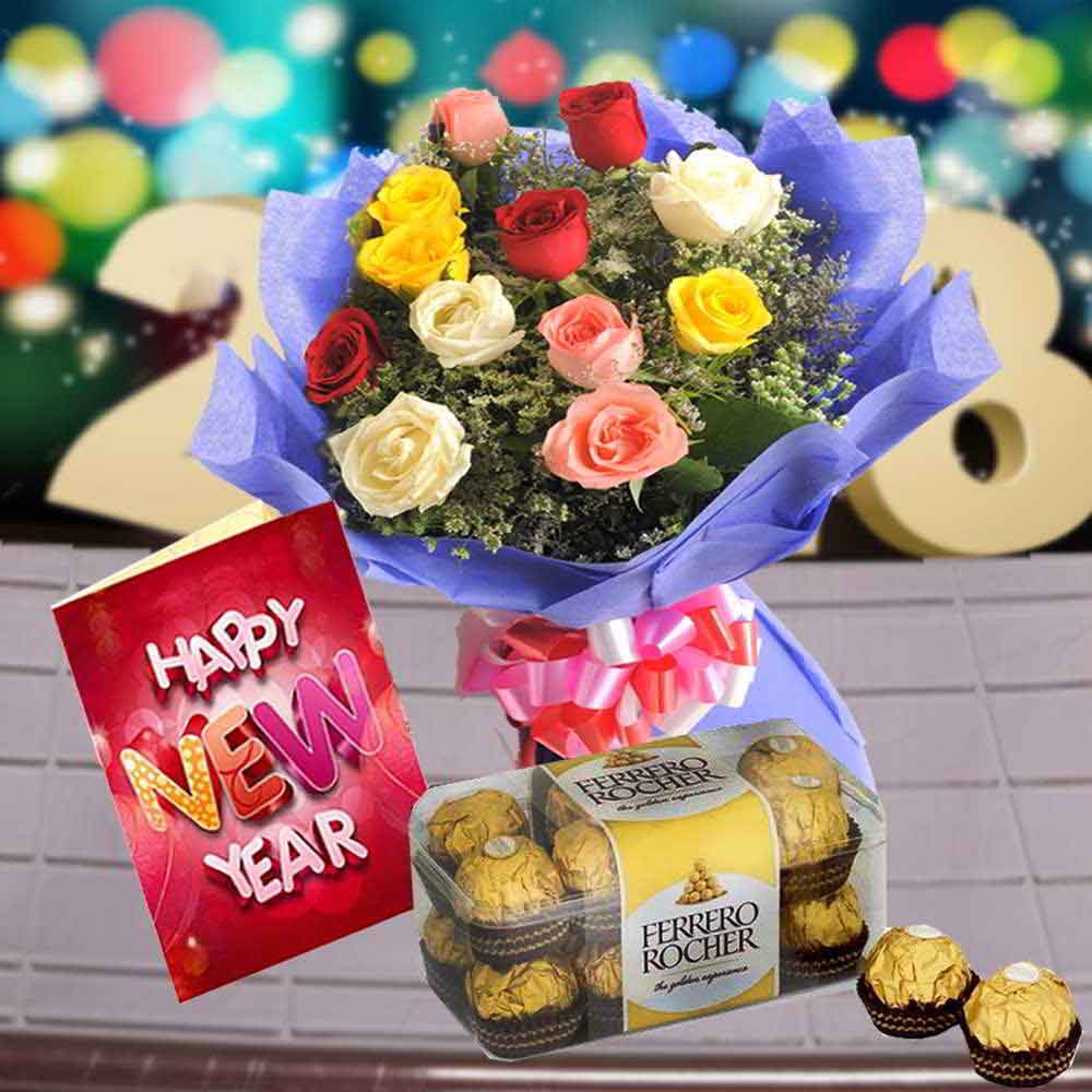 Fresh Flowers-12 Mix Roses with Ferrero Rochers Chocolate and New Year Card