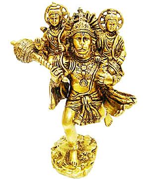Brass Idols-Hanuman Carrying Rama